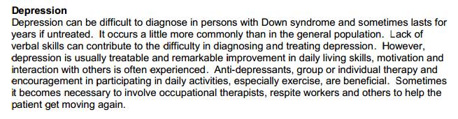 Depression in adults who have Down syndrome